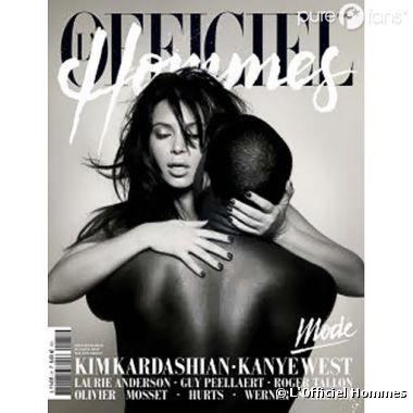 Kanye West et Kim Kardashian, nus et enlacés en couv de l'Officiel Hommes printemps 2013