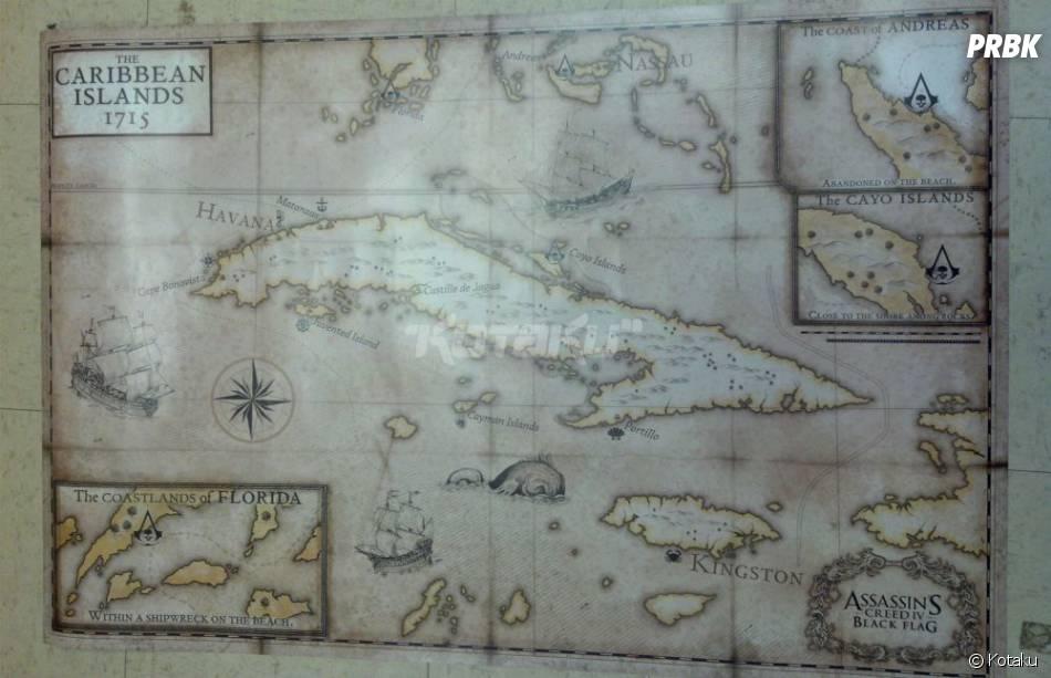 Assassin's Creed 4 Black Flag : la carte des Caraïbes