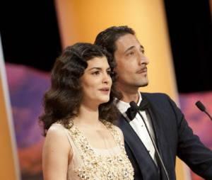 Audrey Tautou et Adrien Brody lors du Festival de Cannes 2012