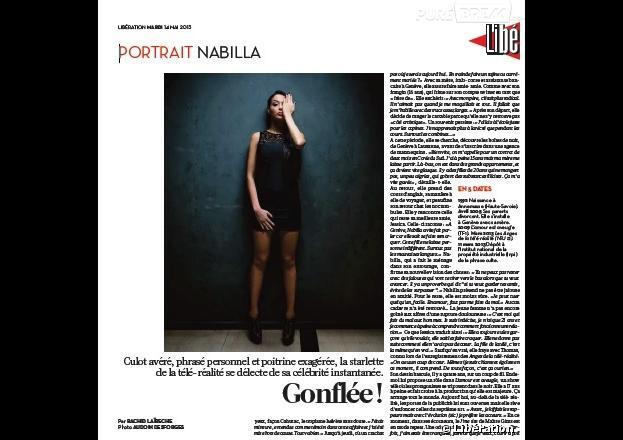 Nabilla Benattia a son portrait en 4e de couv de Libération le 14 mai 2013