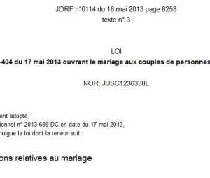 La loi sur le mariage pour tous publiée samedi au Journal Officiel