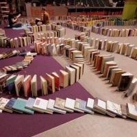 """La plus grande chute de dominos de livres du monde : Domino Day version """"rat de bibliothèque"""""""