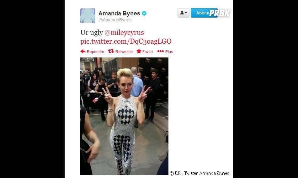 Miley Cyrus traitée de moche par Amanda Bynes sur Twitter