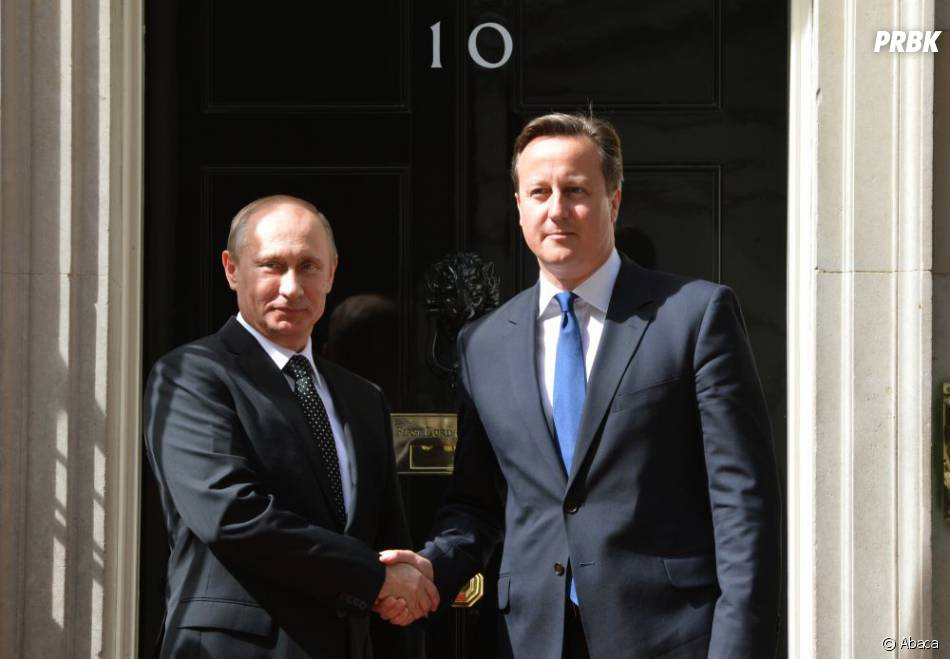David Cameron aux côtés de Vladimir Poutine au Royaume-Uni