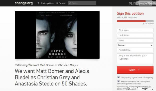 Une pétition contre le casting de Fifty Shades Of Grey