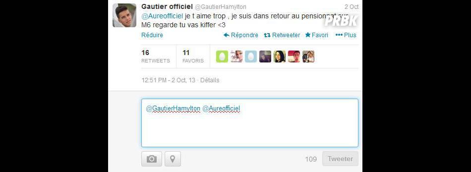 Retour au Pensionnat à la campagne : déclaration d'amour de Gautier à Aurélie Dotremont sur Twitter.