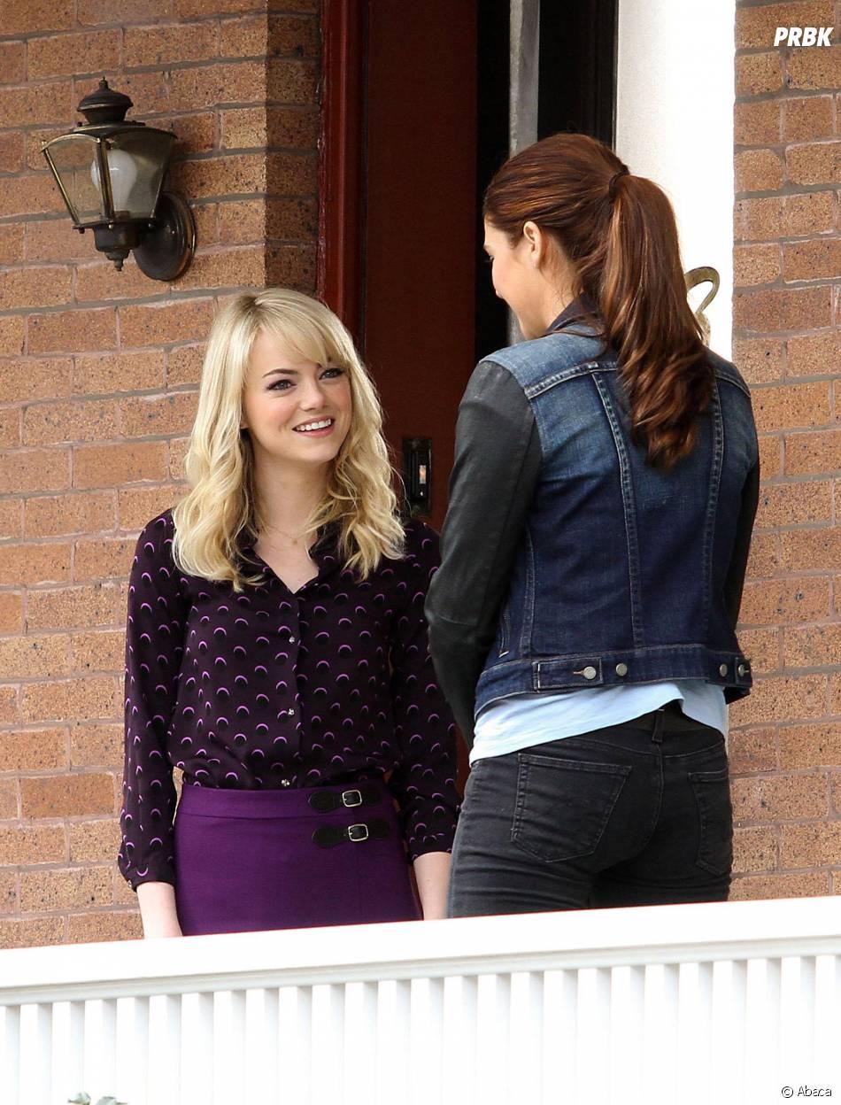Shailene Woodley et Emma Stone sur le tournage de The Amazing Spider-Man 2