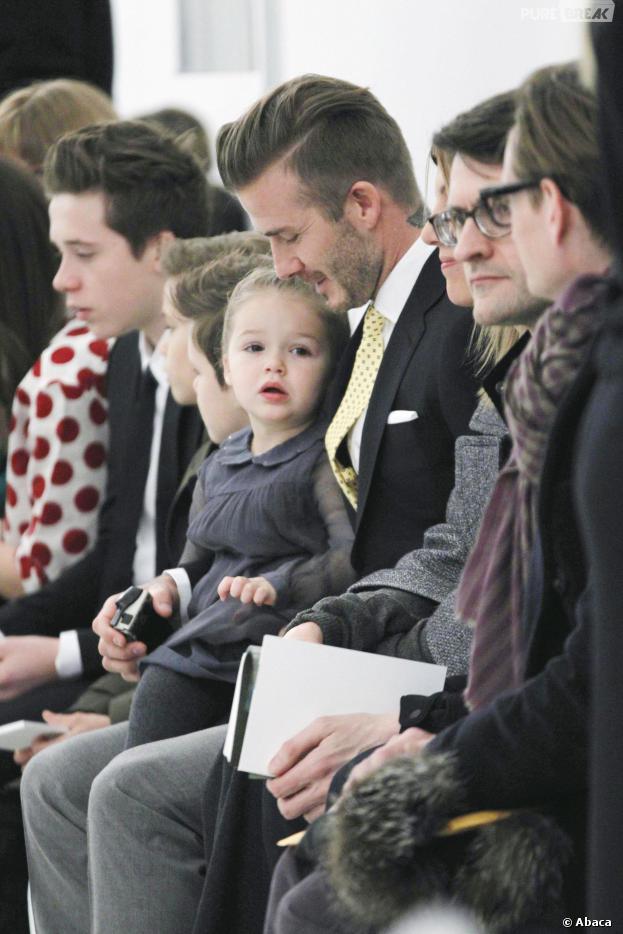 David Beckham, Harper, Cruz, Romeo et David au défilé de leur maman Victoria Beckham à New-York, le 9 février 2014