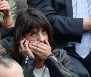 Estelle Denis dans les tribunes de Roland Garros le 27 mai 2014