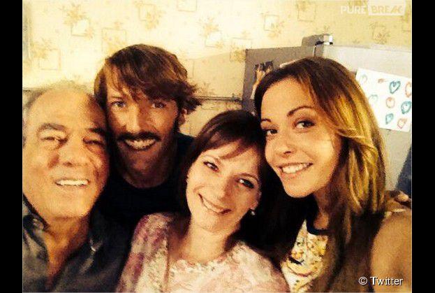 Dounia Coesens et les acteurs de Plus Belle La Vie : Cécilia Hornus, Laurent Kerusoré et Michel Cordes, pour son dernier jour de tournage, le 10 juillet 2014