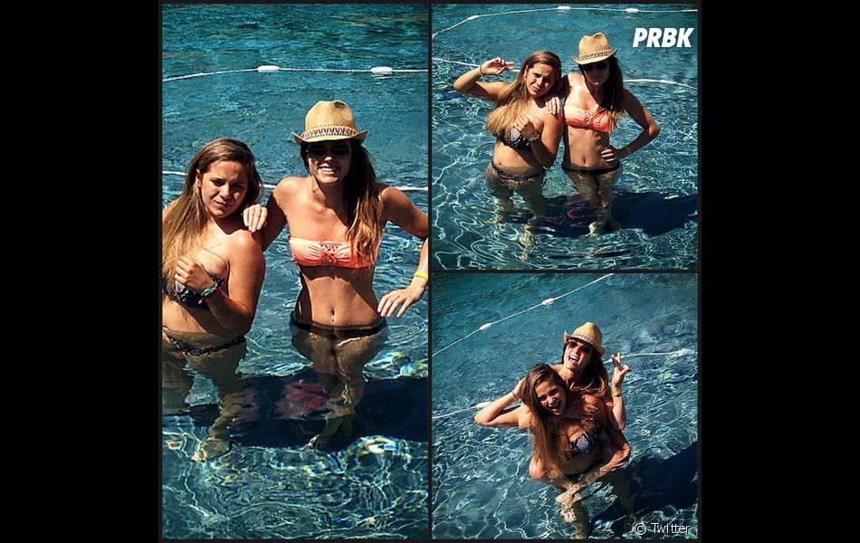 Capucine Anav en vacances avec sa petite soeur Lou pendant l'été 2014