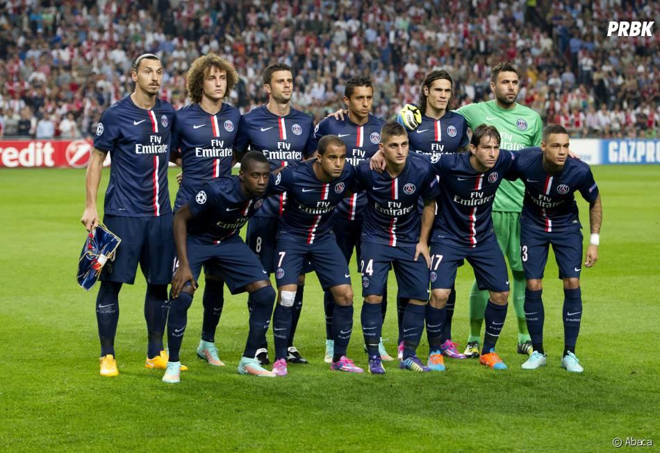 Zlatan Ibrahimovic et ses coéquipiers du PSG avant le match face à l'Ajax, le 17 septembre 2014 dans la cadre de la Ligue des Champions