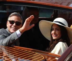 George Clooney et Amal Alamuddin après leur mariage à Venise le 27 septembre 2014