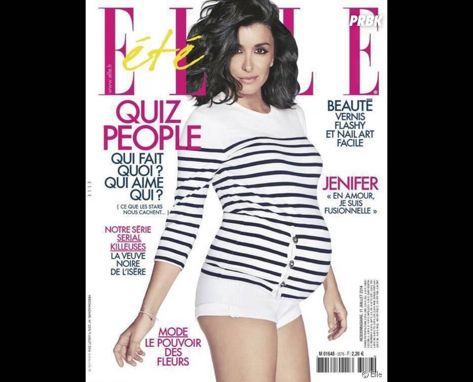 Jenifer enceinte en Une du magazine Elle, le 11 juillet 2014