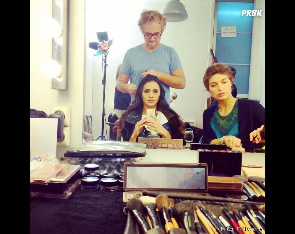 Leila Ben Khalifa en pleine préparation pour son shooting pour Les Mystères de l'amour, le 14 novembre 2014