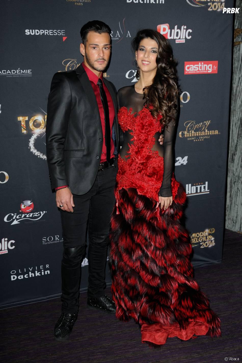 Serena Fae et Giuseppe en couple pour la finale de Top Model Belgium, le 23 novembre 2014 au Lido à Paris