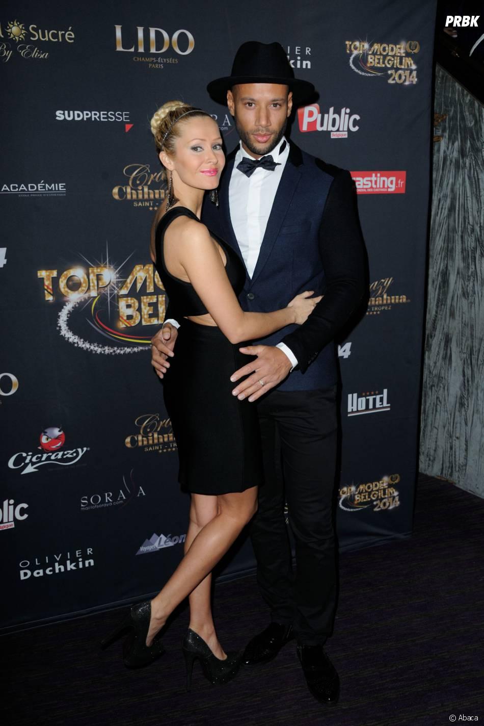 Tatiana Laurens et Xavier Delarue en couple à la finale de Top Model Belgium, le 23 novembre 2014 au Lido à Paris