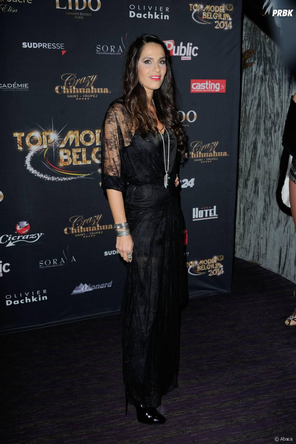 Elisa Tovati : look 100% black pour la finale de Top Model Belgium, le 23 novembre 2014 au Lido à Paris