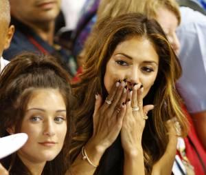 Nicole Scherzinger émue après la victoire en F1 de Lewis Hamilton, le 23 novembre 2014 à Abou Dhabi