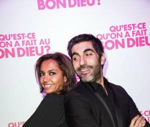 Ary Abittan et Karine Le Marchand fêtent le succès de Qu'est-ce qu'on a fait au Bon Dieu, le 8 décembre 2014 à Paris