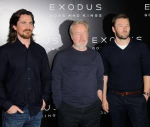 Christian Bale, Ridley Scott et Joel Edgerton à la conférence de presse de Exodus : Gods and Kings à Paris