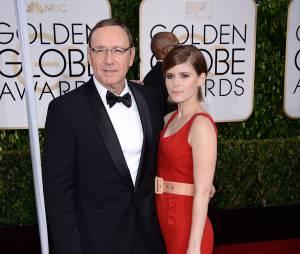 Kevin Spacey et Kate Mara sur le tapis-rouge des Golden Globes le 11 janvier 2015