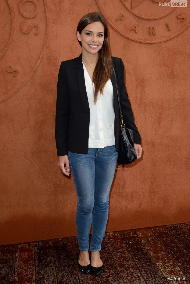 Marine Lorphelin prend la pose au tournoi de Roland Garros, le 4 juin 2014