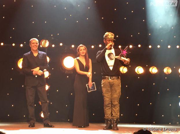 Black M, vainqueur du Prix du public sur la scène de La Cigale pour le Prix Talents W9 à Paris, le 27 janvier 2015