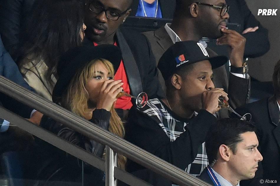 Beyoncé et Jay Z au Parc des Princes pour le match Paris SG vs FC Barcelone, le 30 septembre 2014 à Paris