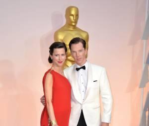 Benedict Cumberbatch et sa compagne sur le tapis rouge des Oscars, le 22 février 2015 à Los Angeles