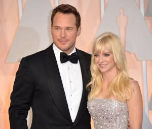 Chris Pratt et Anna Faris sur le tapis rouge des Oscars, le 22 février 2015 à Los Angeles