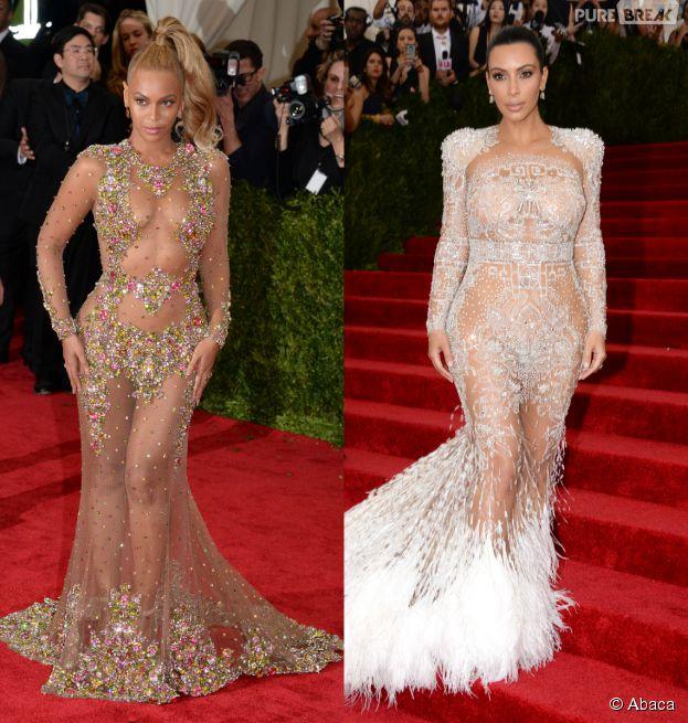 Beyoncé et Kim Kardashian sexy en robes transparentes sur le tapis rouge du MET Gala 2015 à New York, le 4 mai 2015