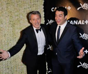 Antoine de Caunes et Thomas Thouroude à la soirée de Canal+ à Cannes le vendredi 15 mai 2015