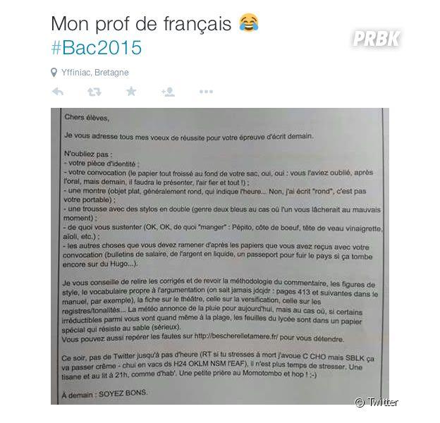 Bac 2015 : en Bretagne, ce prof de français et ses conseils à ses élèves font le buzz sur Twitter