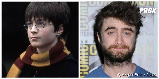 Daniel Radcliffe (Harry) : à gauche dans Harry Potter en 2001, à droite au Comic Con en juillet 2015