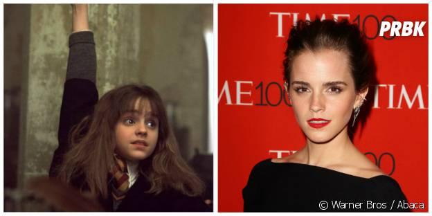 Emma Watson (Hermione) : à gauche dans Harry Potter en 2011, à droite à la soirée Time 100 en avril 2015 à NY