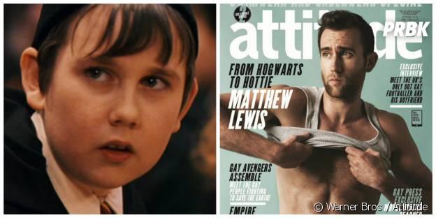 Matthew Lewis (Neville) : à gauche dans Harry Potter en 2001, à droite en Une du magazine Attitude en 2015