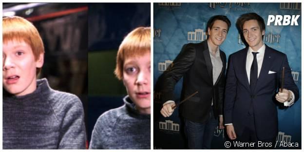 James Phelps et Oliver Phelps (Les jumeaux Weasley) : à gauche dans Harry Potter en 2001, à droite le 2 avril 2015 à l'expo Harry Potter en France