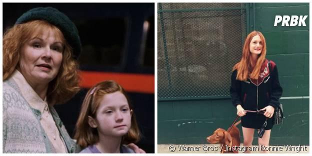 Bonnie Wright (Ginny) : à gauche dans Harry Potter en 2001, à droite en mai 2015 sur Instagram