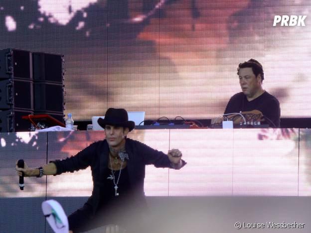 Joachim Garraud et Perry Farrell (le fondateur du festival) en concert au Lollapalooza 2015 à Berlin, le 12 septembre 2015