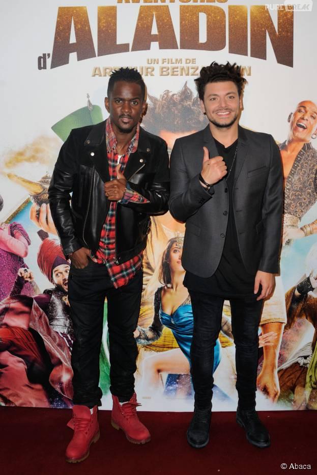 Black M et Kev Adams à l'avant-première du film Les Nouvelles Aventures d'Aladin réalisé par Arthur Benzaquen, le 6 octobre 2015 au Grand Rex à Paris