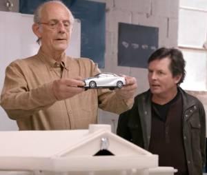Retour vers le futur : Marty (Michael J.Fox) et Doc (Christopher Lloyd) réunis dans une pub de Toyota