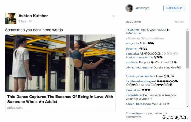 Shy'm : Ashton Kutcher fan de sa vidéo dansante réalisée avec le chorégrapheZack Benitez