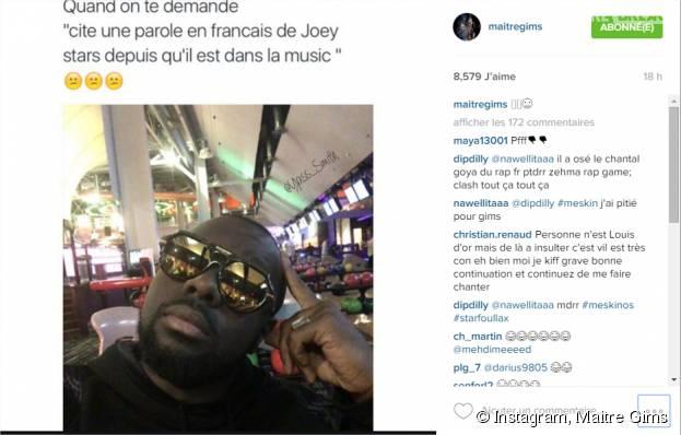Maitre Gims se moque de JoeyStarr sur Instagram
