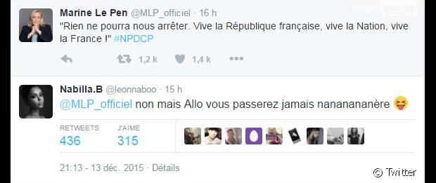 Nabilla Benattia se moque du FN de Marine Le Pen après les élections régionales 2015 en France, le 13 décembre 2015
