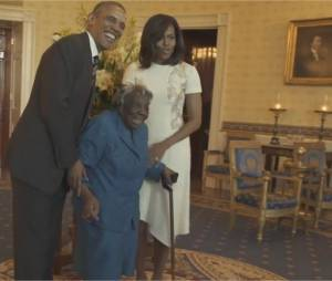 Barack Obama et Michelle Obama accueillent Virginia McLaurin à la Maison-Blanche