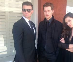 The Originals saison 3 : Phoebe Tonkin, Joseph Morgan et Daniel Gillies sur une photo du tournage postée le 28 mars 2016 sur Twitter
