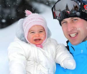 Princesse Charlotte et son papa le Prince William à la neige en février 2016