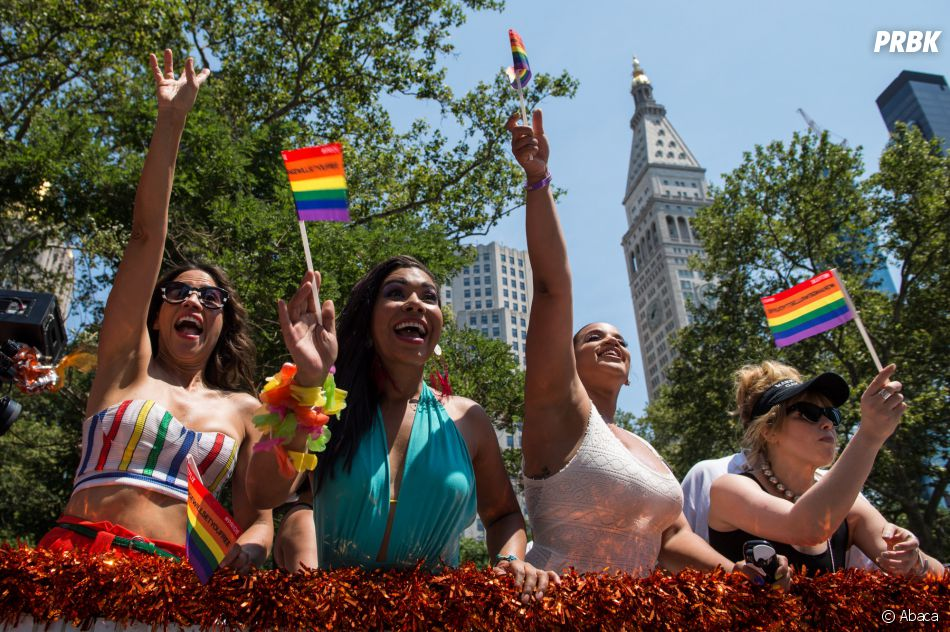 Orange is the new black : Dayanara, Gloria, Big Boo et Poussey défilent lors de la Gay Pride de New-York le 26 juin 2016