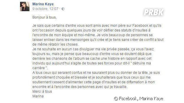 """Marina Kaye règle ses comptes avec son père : """"il veut détruire ma carrière"""""""